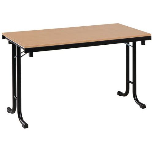 Table pliante rectangle mélaminée PMR - Piétement en T - L 140 cm