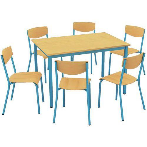 Ensemble chaises table rectangulaire - Plateau mélaminé - 6 places