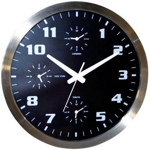 Horloge murale avec 4 fuseaux horaires for Horloge murale 3 cadrans