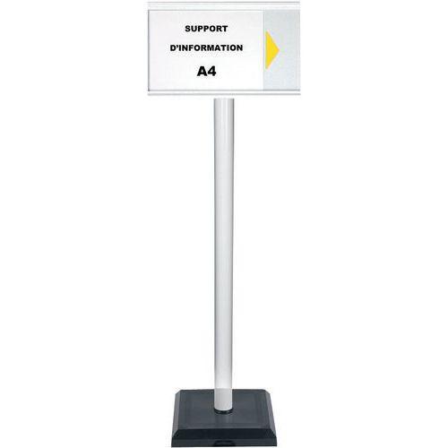 Poteau avec panneau d'information A4 PVC - Premium