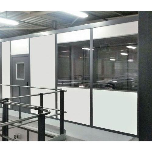Cloison double paroi mélaminé - Panneau semi-vitré (ép.4 mm) - Hauteur 2.50 m