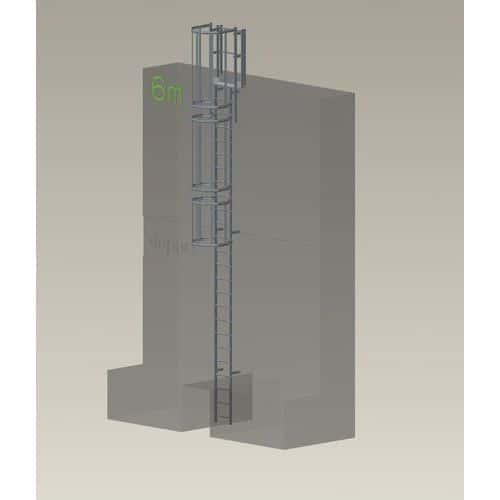 Kit complet échelle à crinoline - Hauteur 6 m
