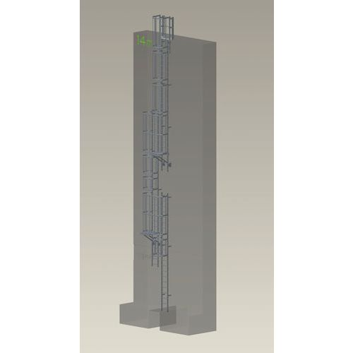 Kit complet échelle à crinoline - Hauteur 15 m