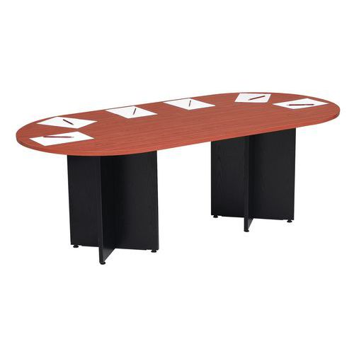 table modulaire ovale semi ovale pied en croix. Black Bedroom Furniture Sets. Home Design Ideas