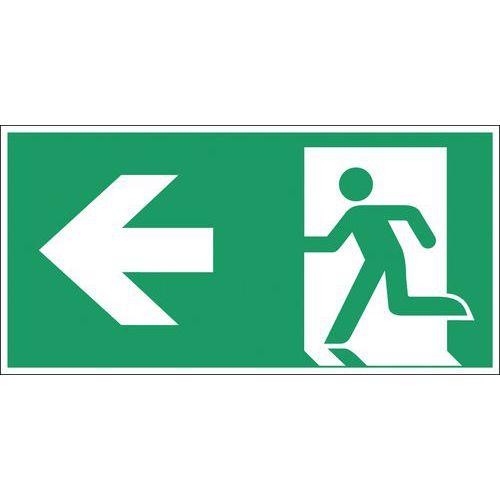 Panneau d'évacuation-secours - Issue de secours à gauche - Rigide