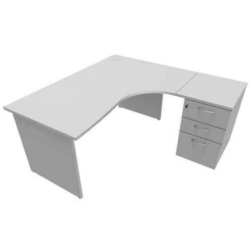 Bureau compact caisson pi tements panneau gris for Bureau ps 13