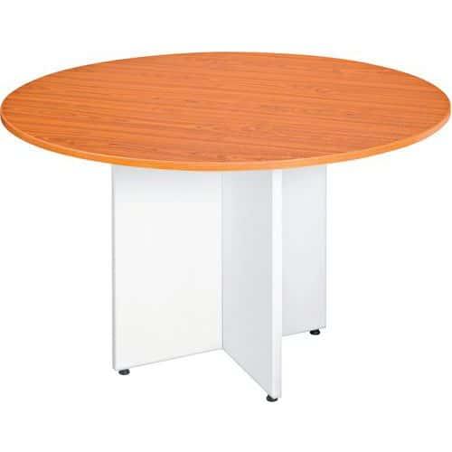 Table ronde - Pieds croix en merisier