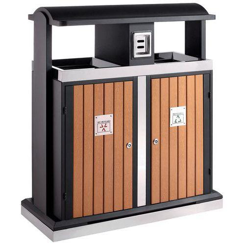 Poubelle d 39 ext rieur tri s lectif 2 x 50 l for Rangement pour poubelle exterieur