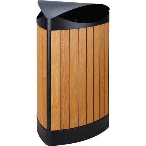 poubelle ext rieur triangle au finition 39 wood look 39 60l. Black Bedroom Furniture Sets. Home Design Ideas