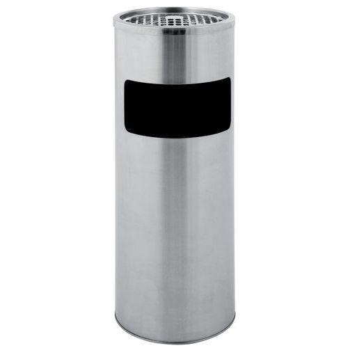 Poubelle-cendrier ronde - Inox - 12,5 L
