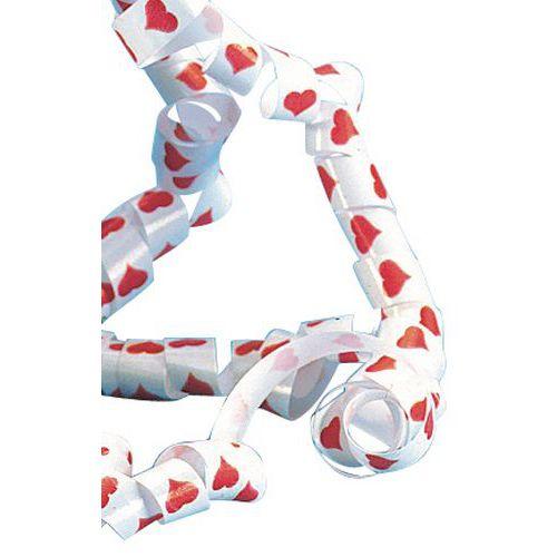 Bolduc blanc coeurs rouges