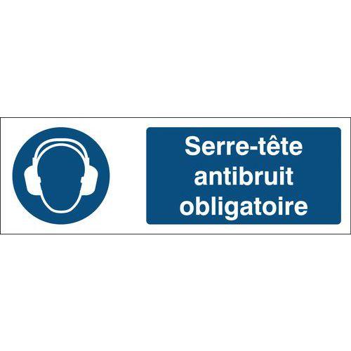 Panneau d'obligation - Port d'un serre-tête antibruit obligatoire - Rigide