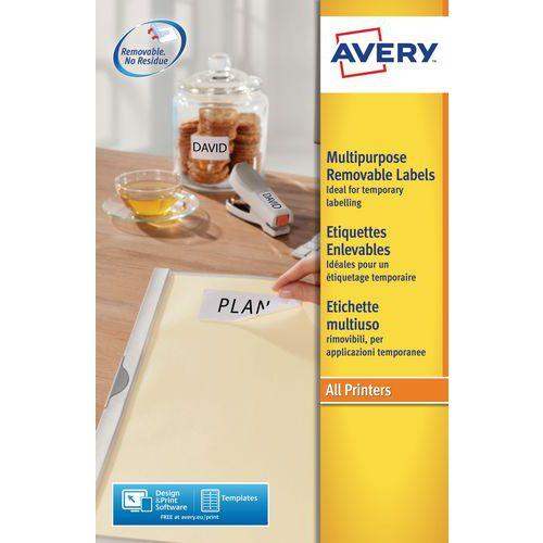 Étiquette blanche repositionnable Avery - Impression laser / jet d'encre, copieur