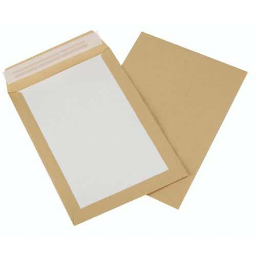 Pochette dos en carton kraft brun 120 g - Boîte de 100