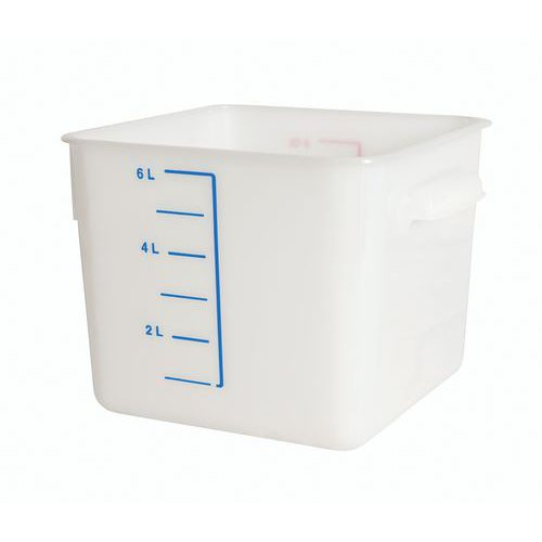 Boîte plastique de stockage carrée avec graduation