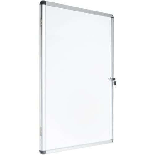Vitrine d'intérieur Manutan 1 porte - Fond aluminium - Porte en verre