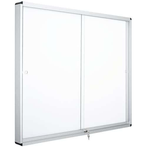 Vitrine d'intérieur Manutan 2 portes - Fond aluminium - Porte en verre
