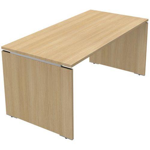 bureau droit moka pieds panneaux ch ne clair. Black Bedroom Furniture Sets. Home Design Ideas