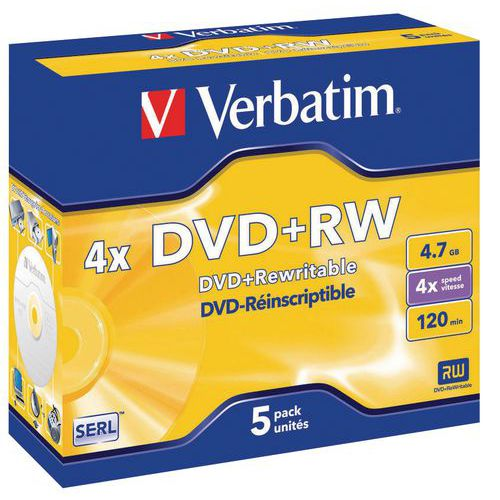 DVD+RW réenregistrable 4X- lot de 5 Verbatim