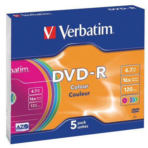 DVD-R Azo Couleur lot de 5 16X Verbatim