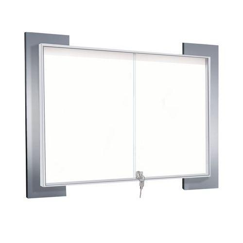 Vitrine d'intérieur Look - Fond aluminium - Porte en verre de sécurité
