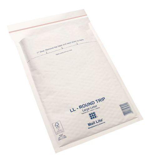 Pochette kraft blanc Mail Lite® 79g/m² matelassée bulles Round trip - Réutilisable