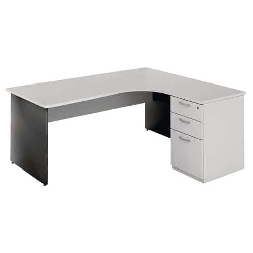 bureau compact avec caisson pi tement panneau gris clair anthracite. Black Bedroom Furniture Sets. Home Design Ideas