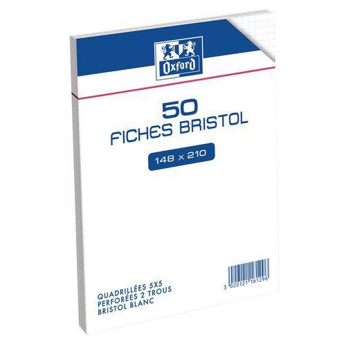 50 fiches bristol 210g A5 perf Q5 Oxford
