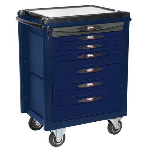 Servante 7 tiroirs bleue et grise