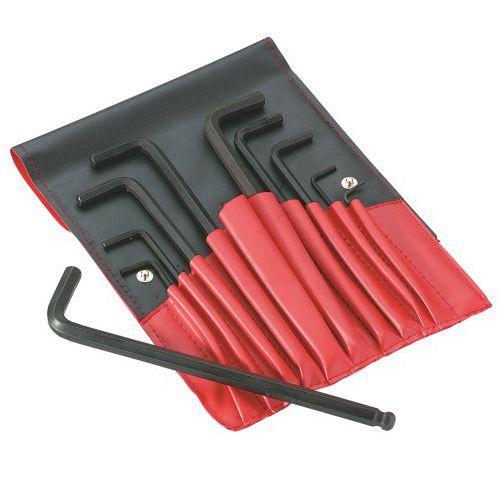 Trousse de 8 clés mâles coudées courtes 6 pans en pouce
