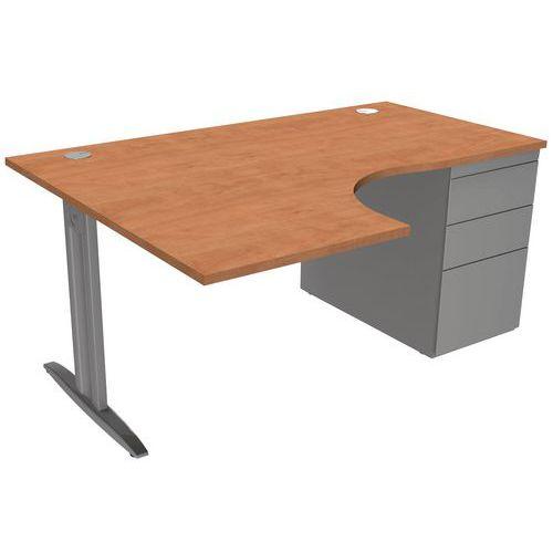 Bureau compact IDOL avec caisson porteur 3 tiroirs pieds I fixes - Pommier