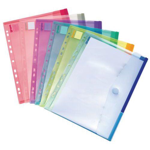 Enveloppe Tcollection COLOR - Format A4 perforées - Coloris assortis
