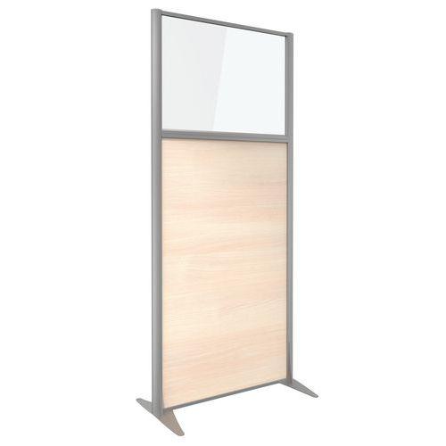 Cloison de séparation KP+ - Mélaminé avec verre - Hauteur 180 cm