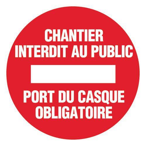 Panneau de signalisation de chantier chantier interdit au publ - Port du casque obligatoire ...