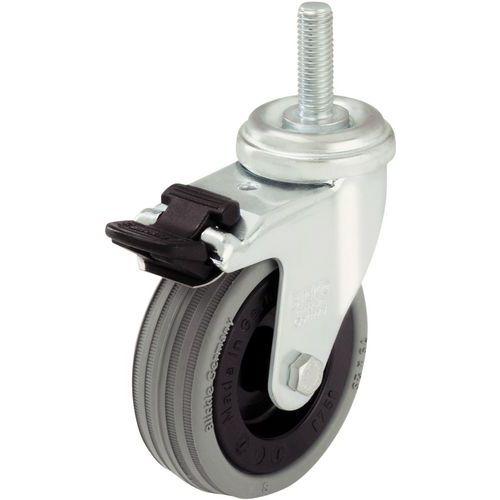 Roulette à tige filetée M10 x 30 - Force 40 à 70 kg - Pivotante à frein