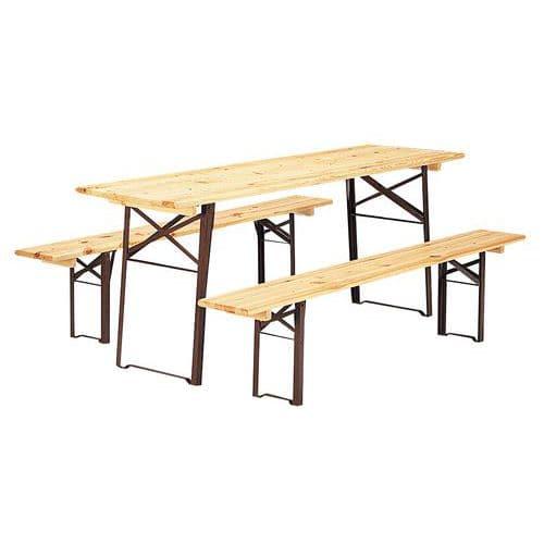Ensemble bois table et bancs pliants