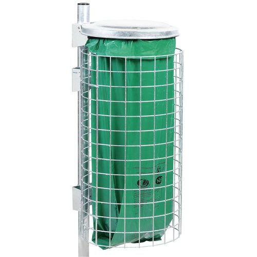 Support pour sac-poubelle sur poteau avec finition en acier - 110 L