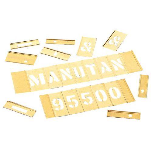 Pochoir en laiton - Jeu de 92 caractères alphanumériques