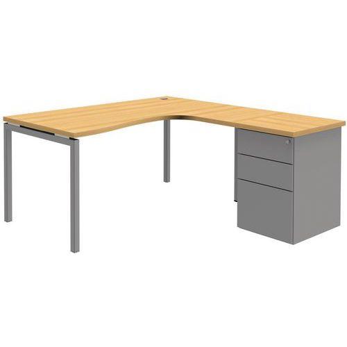 Bureau compact avec caisson Open - Hêtre/ aluminium