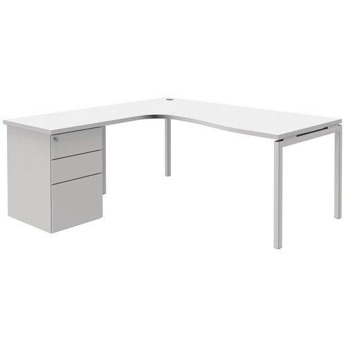 Bureau compact avec caisson open blanc blanc - Bureau avec caisson ...