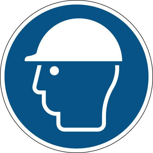 Panneau obligation rond - Casque de protection obligatoire - Rigide