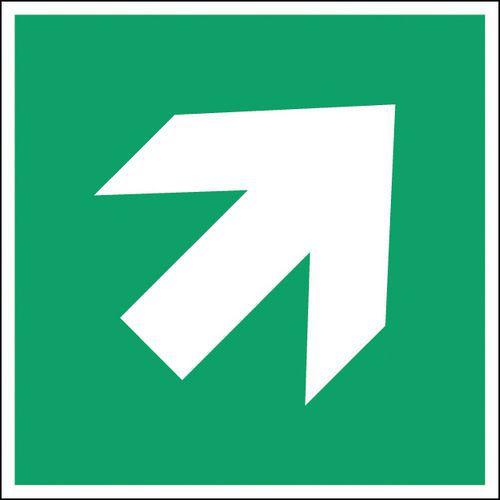 Panneau secours et évacuation carré - flèche directionnelle coin haut droit - Rigide
