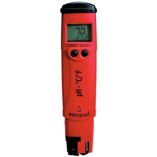 Testeur de pH étanche avec compensation et affichage température pHep 4
