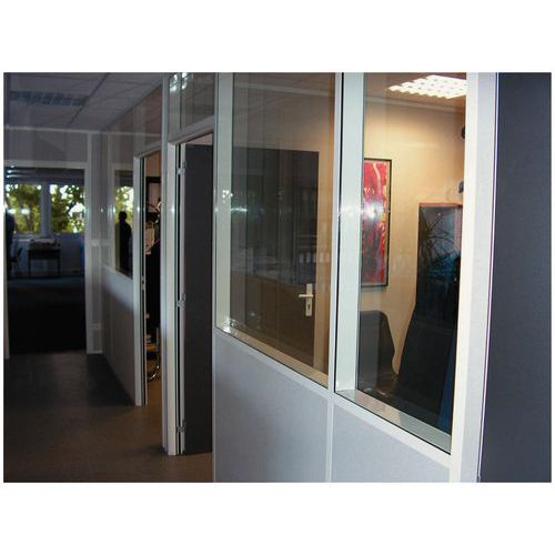 Cloison double paroi t le d 39 acier m lamin panneau vitr 4 mm - Panneau vitre cloison ...