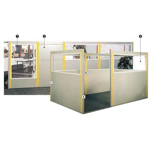 Cloisonnette double paroi t le d 39 acier panneau semi vitr hauteur 1 70 m - Panneau vitre cloison ...