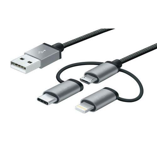 Câble USB 3 en 1 Micro USB/Lightning MFi /USB-C
