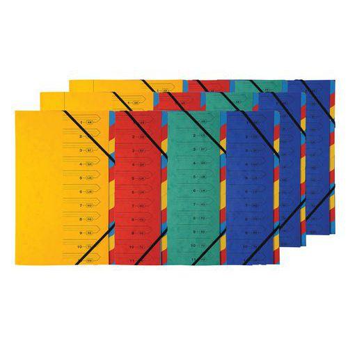 Trieur agrafé élastique 12 compartiments - Coloris assortis - Lot de 12