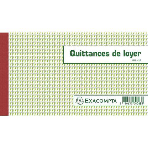 Manifold Quittances de loyer Exacompta - 12,5 x 21 cm - 50 feuillets triple - Autocopiant