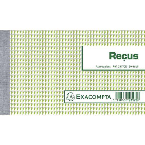 Manifold Reçus Exacompta - 10,5 x 18 cm - 50 feuillets double - Autocopiant