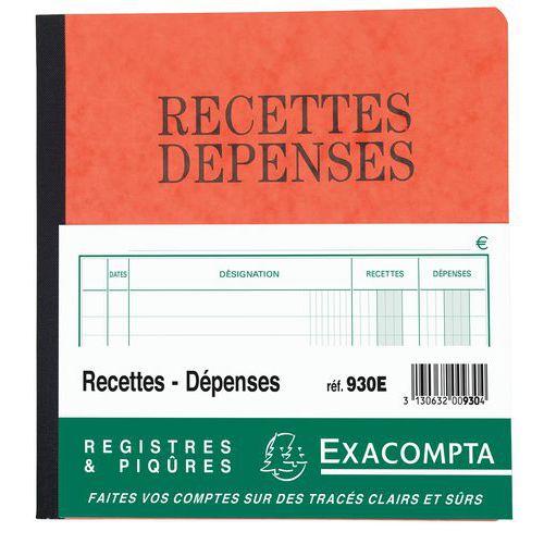 Registre piqûre recettes-dépenses  21 x 19 cm - 80 pages